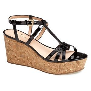 Kate Spade Tropez Patent Leather Strappy Wedges.